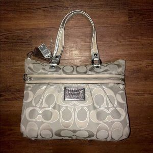 Coach Signature Poppy Lurex Glam Sateen Tote Bag